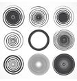 Set of grunge circle brush strokes vector
