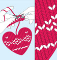 Knit heart vector