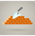 Trowel and brick wall icon building design vector