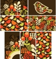 Set of cards with birds and flowers vector