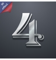 Number four icon symbol 3d style trendy modern vector