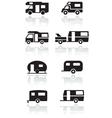 Caravan camper van symbol set vector