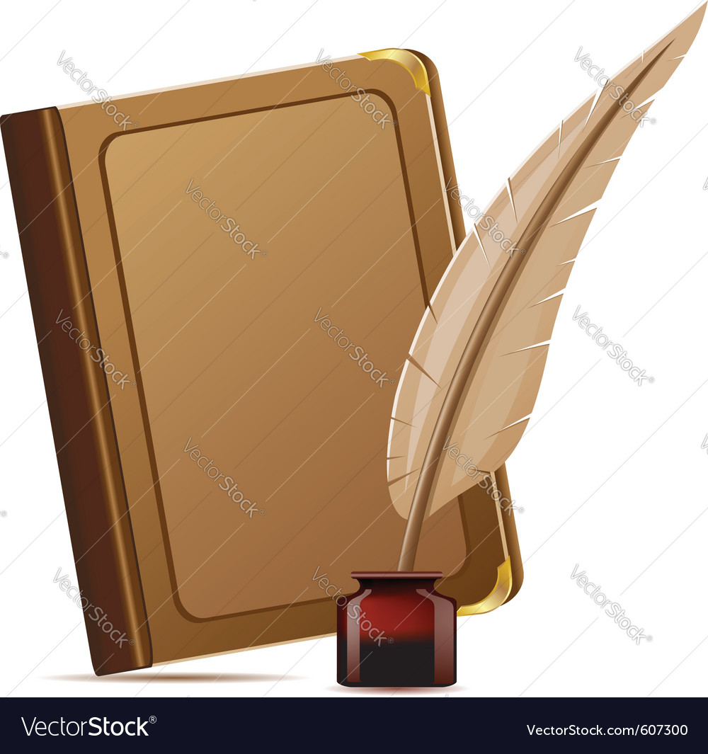 Book and feather with inks vector