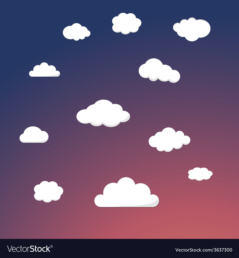 Cartoon retro night sky with clouds background vector | Price: 1 Credit (USD $1)