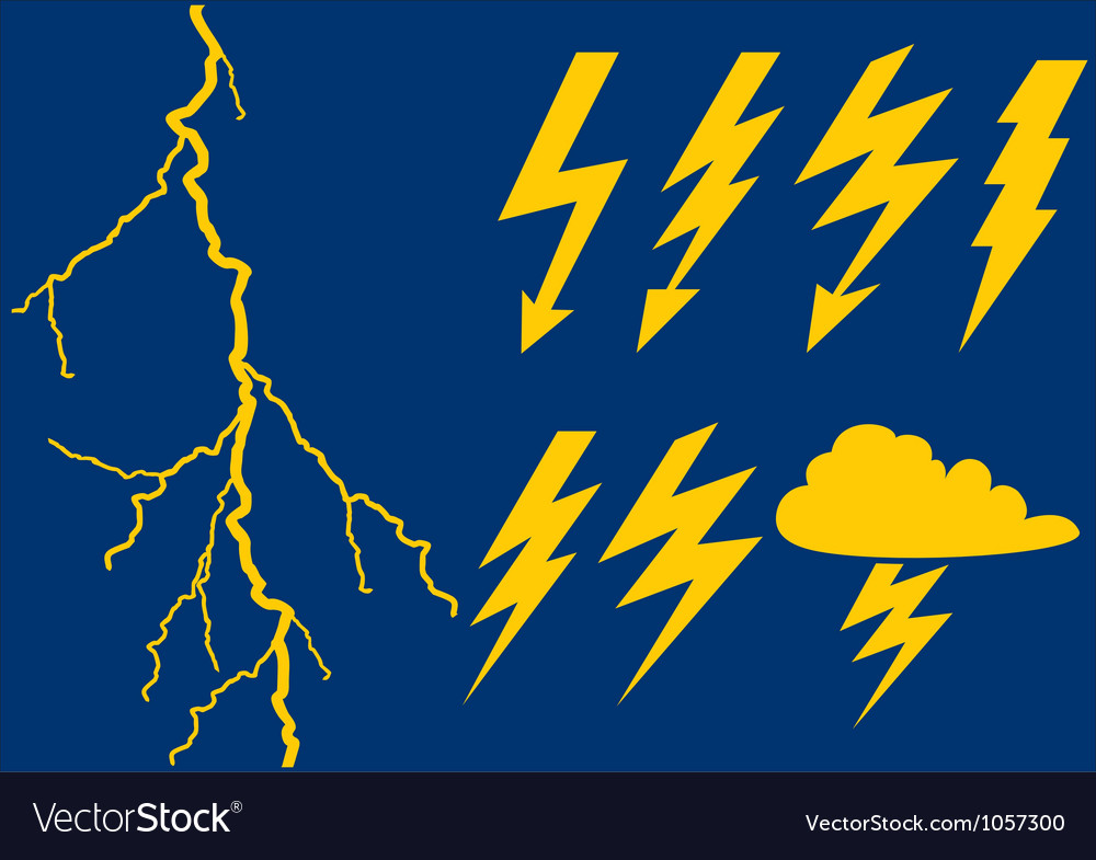 Collection of lightning symbols vector | Price: 1 Credit (USD $1)