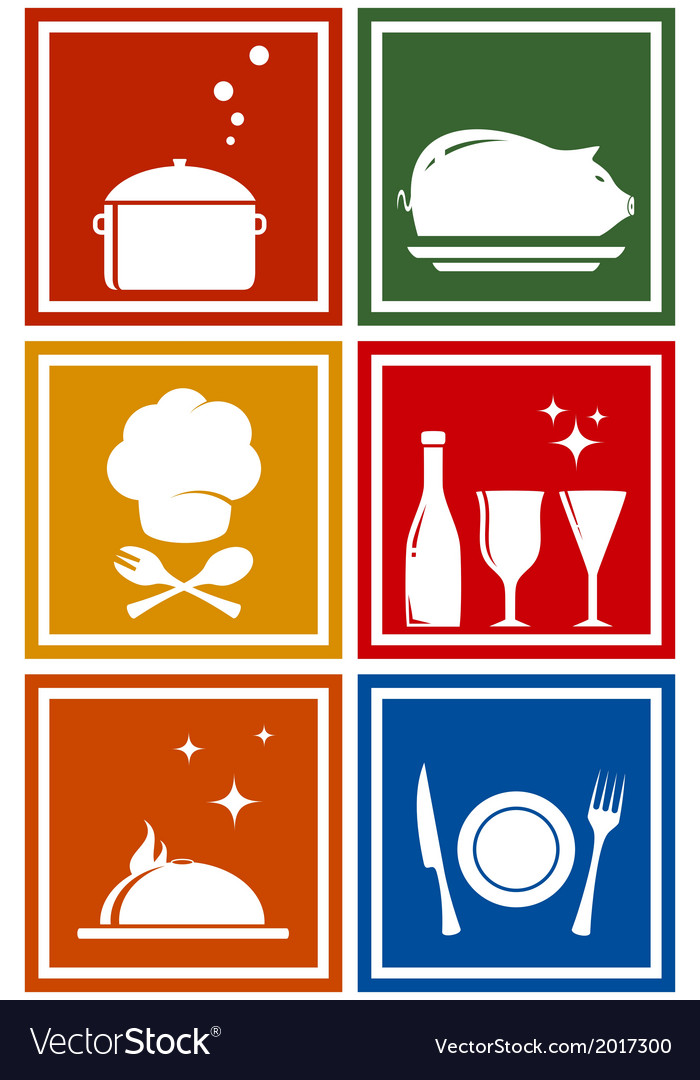 Colorful icons with kitchen objects vector | Price: 1 Credit (USD $1)