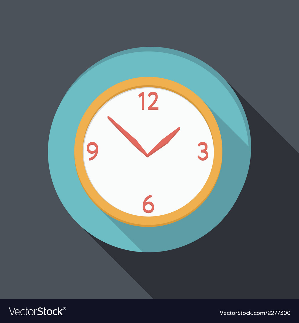 Flat icon with a shadow clock vector | Price: 1 Credit (USD $1)