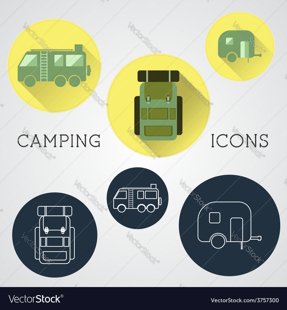 Set of outdoor adventure icons badges and vector | Price: 1 Credit (USD $1)