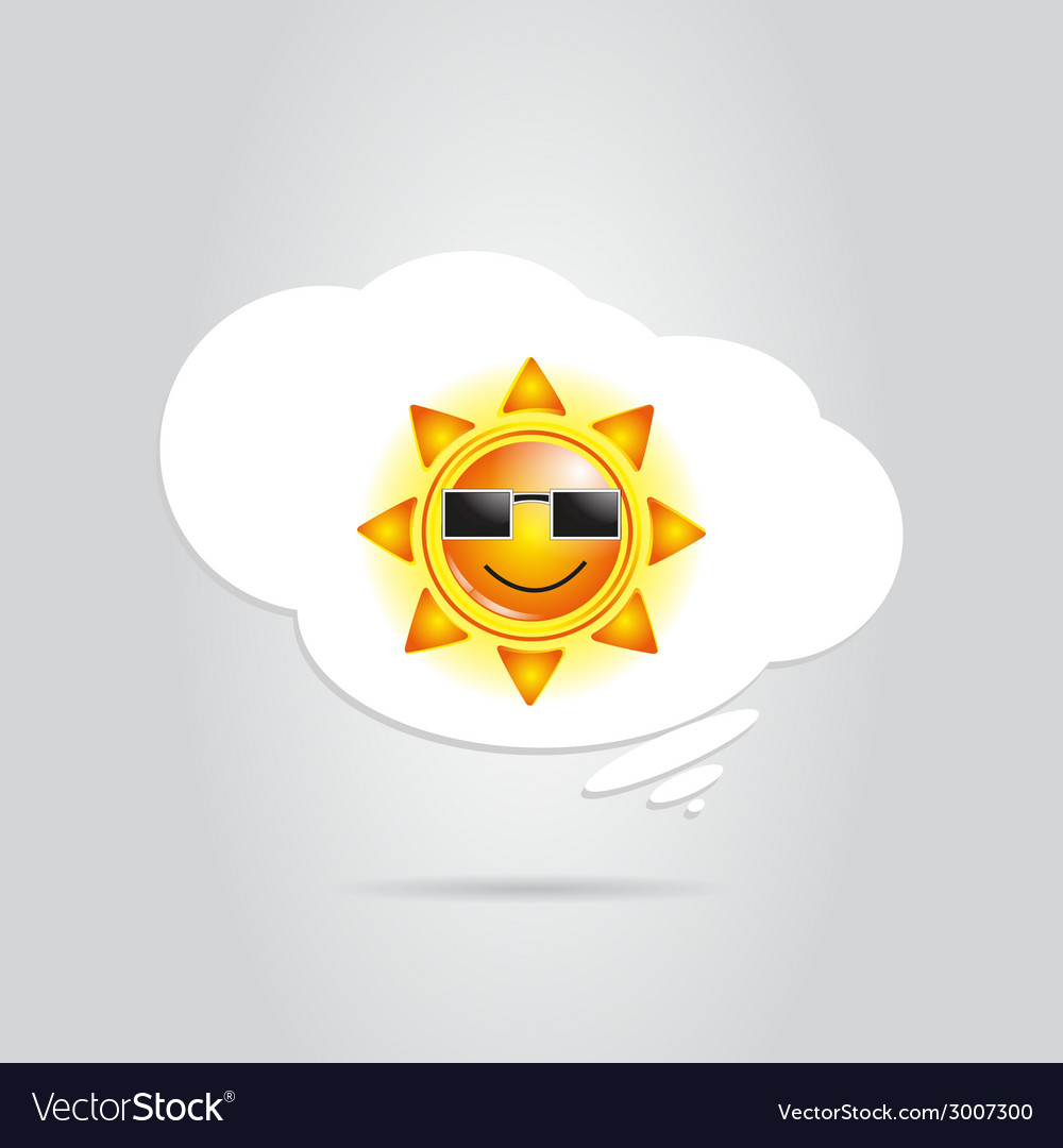 Sun in white cloud vector | Price: 1 Credit (USD $1)