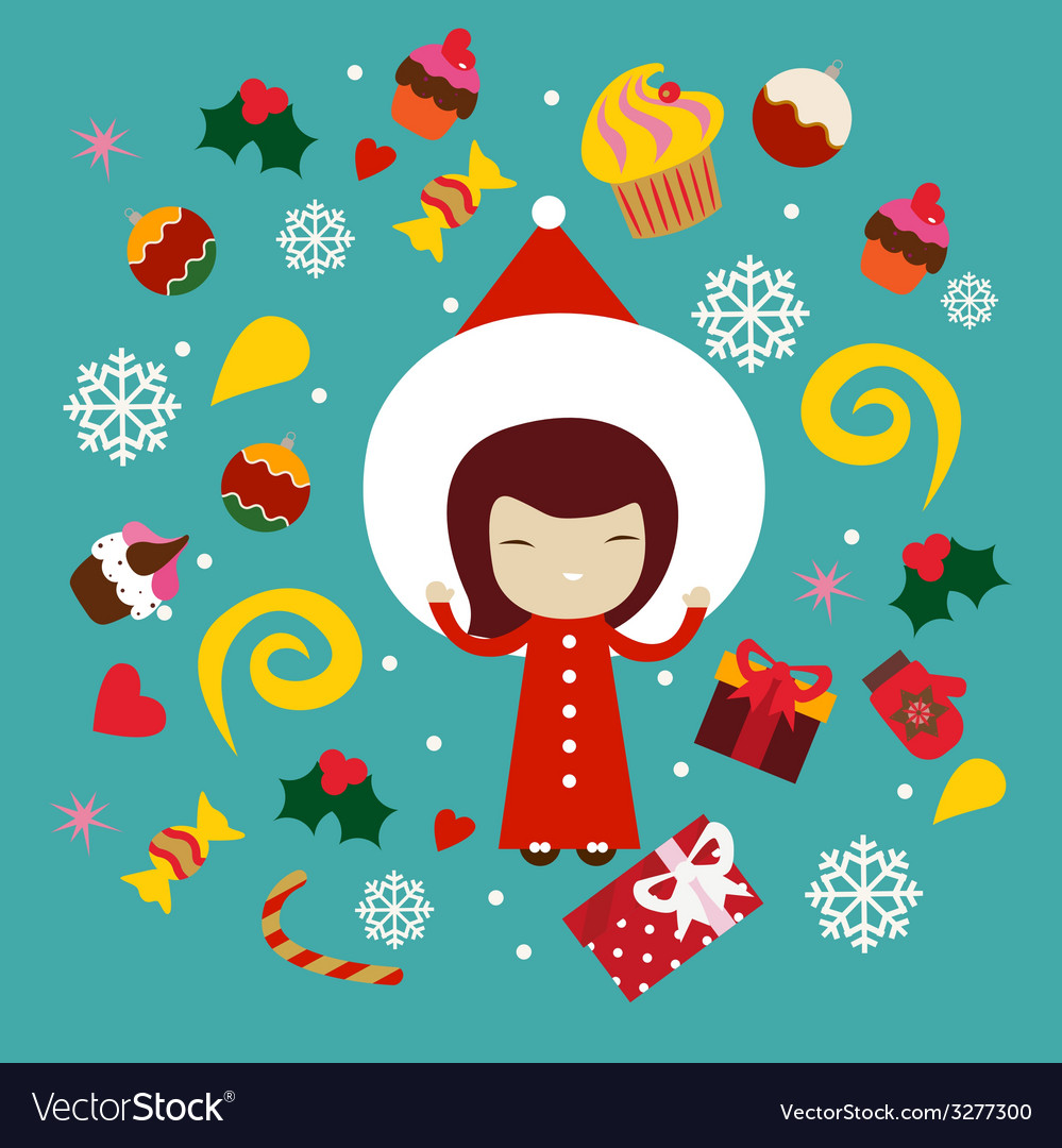 Winter holiday print with cute girl vector | Price: 1 Credit (USD $1)