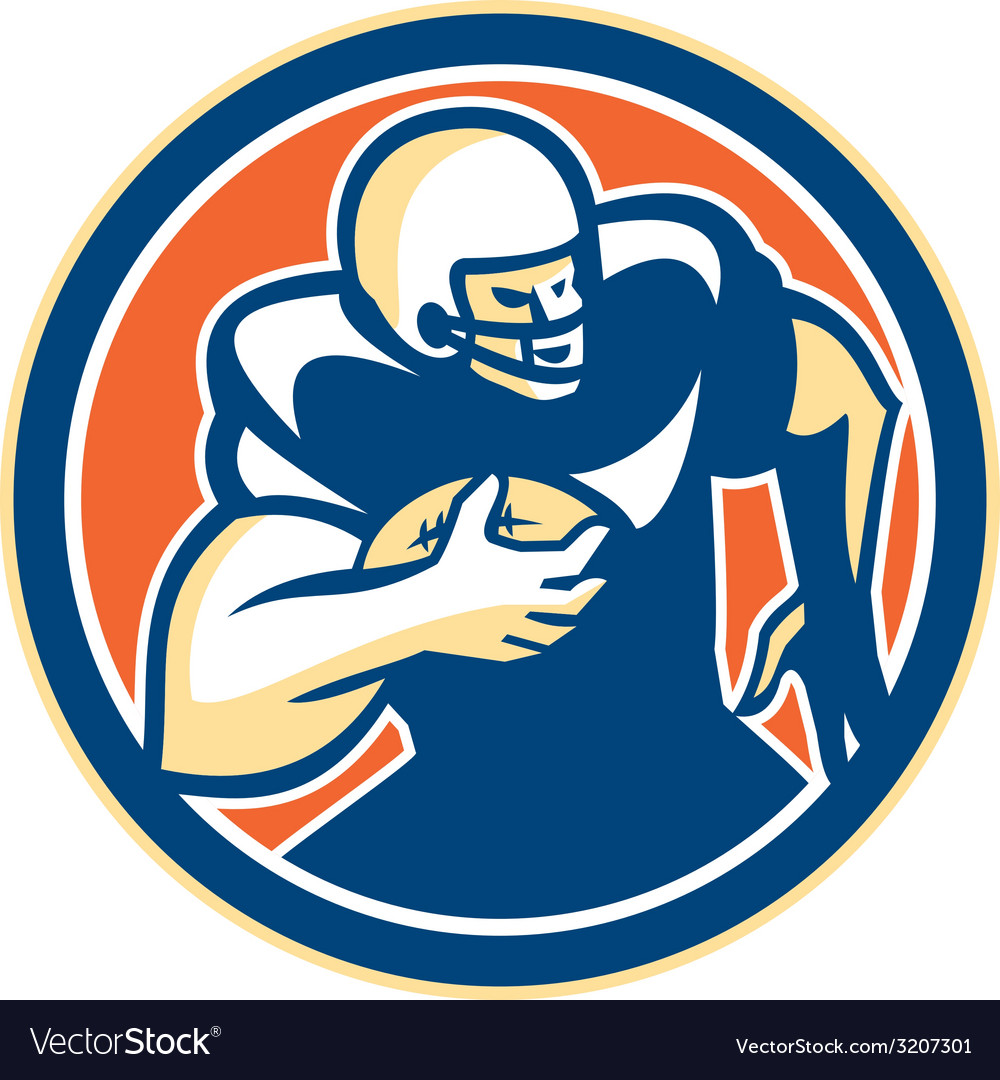 American football player running circle retro vector | Price: 1 Credit (USD $1)