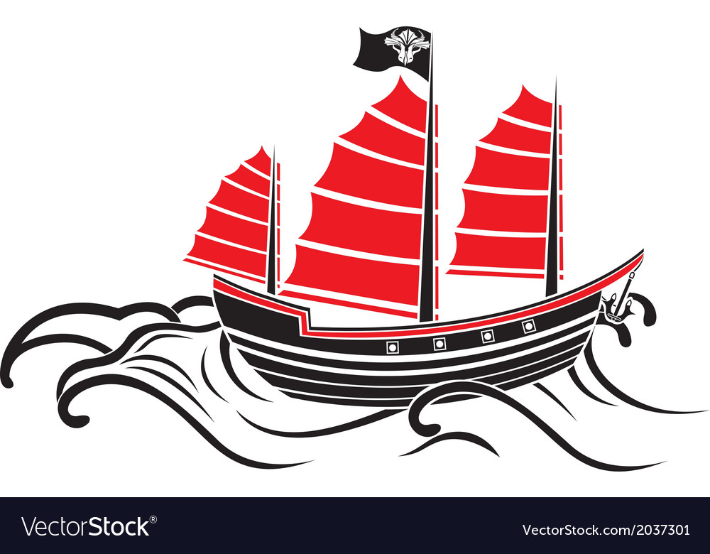 Asian boat on the waves the stencil vector | Price: 1 Credit (USD $1)