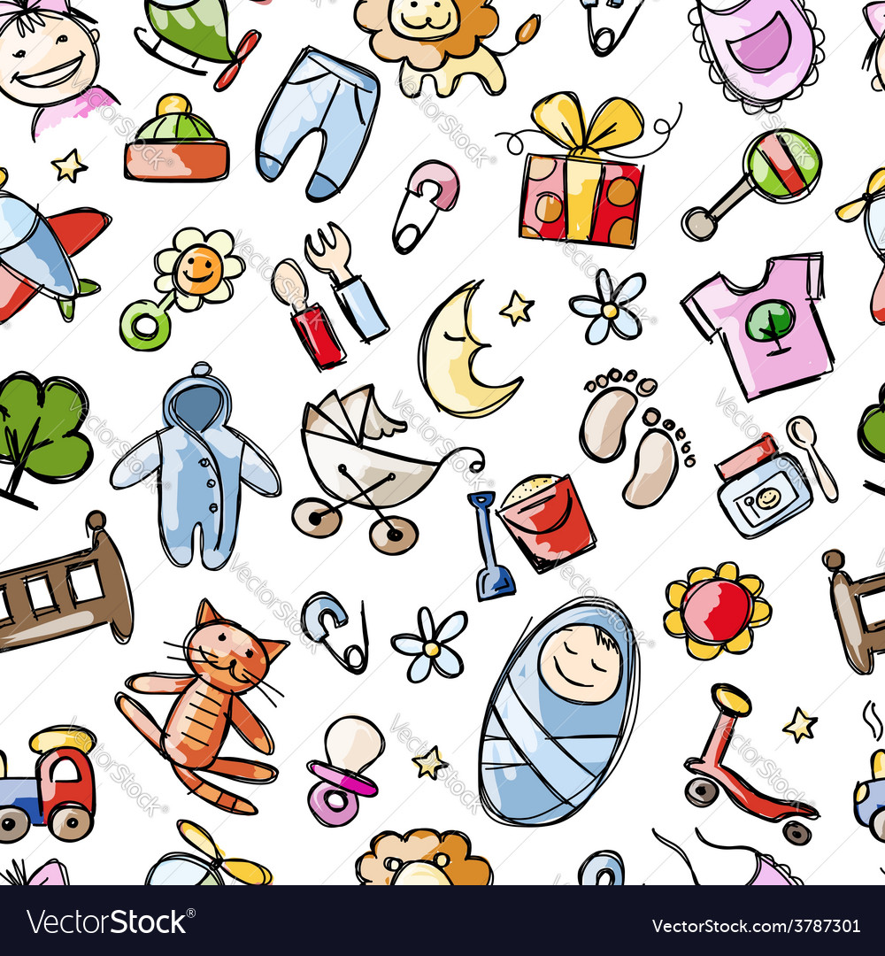 Baby seamless pattern for your design vector