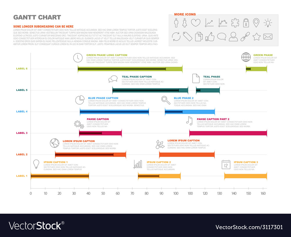 Gantt project production timeline graph vector | Price: 1 Credit (USD $1)