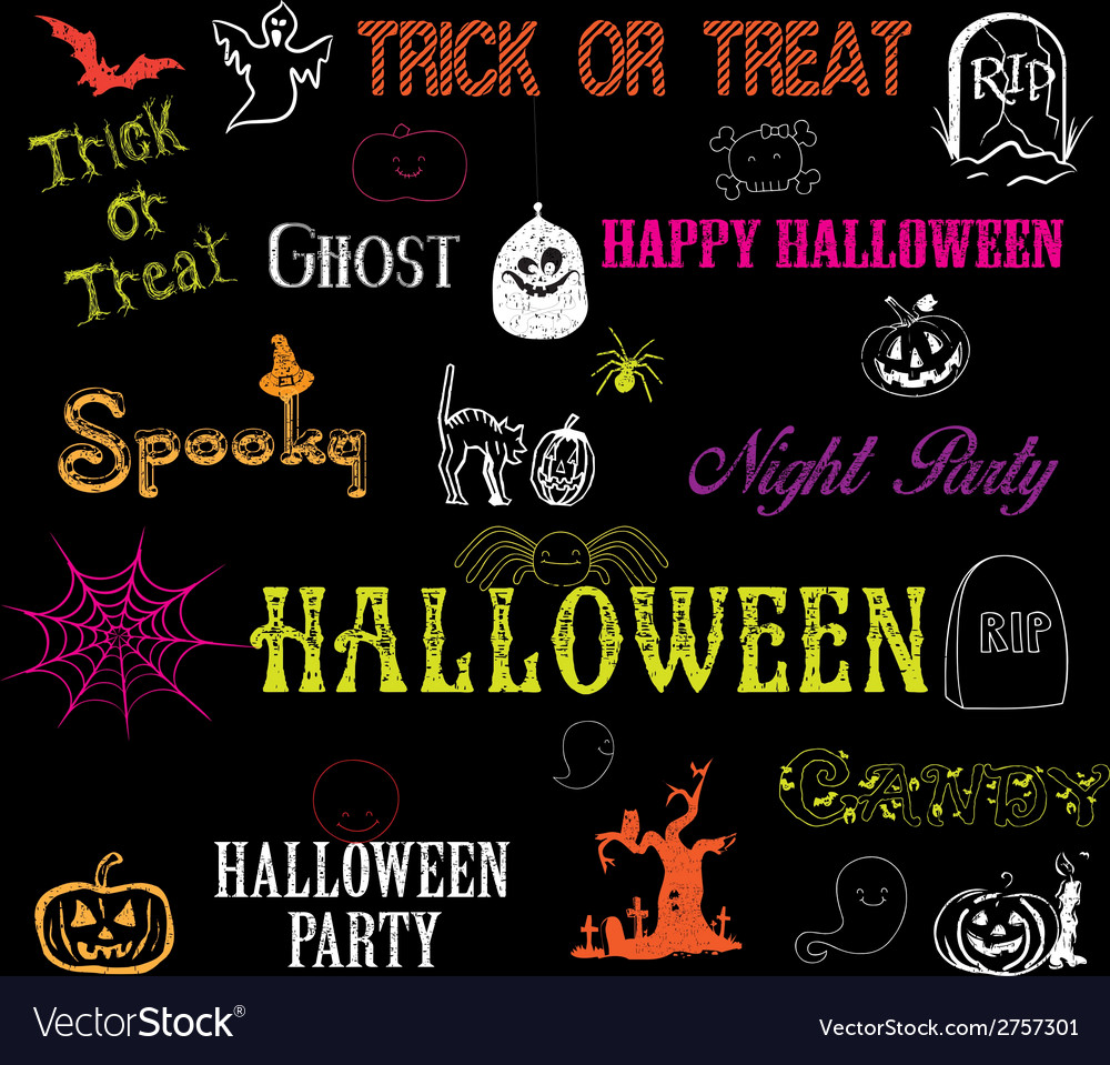 Halloween hand drawn elements vector | Price: 1 Credit (USD $1)