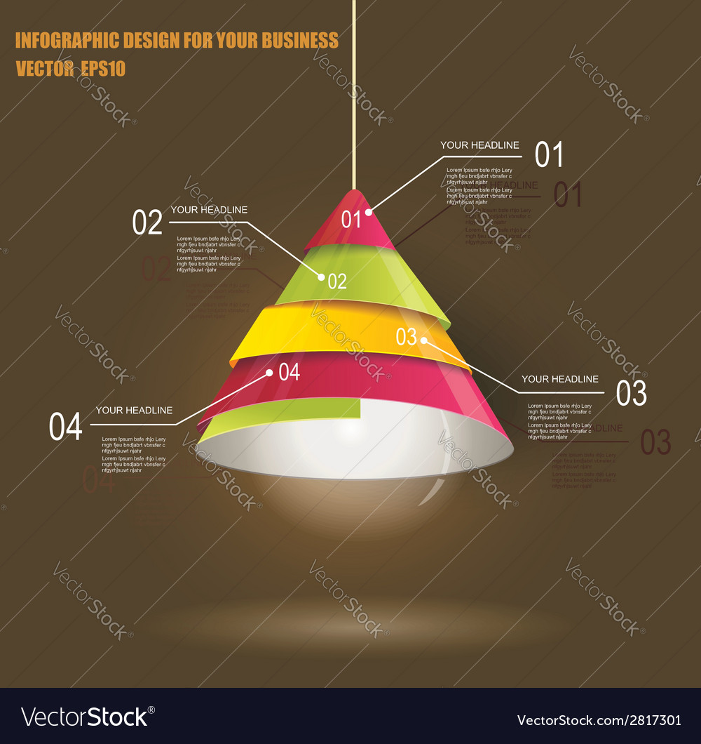 Iinfographic template with light bulb vector | Price: 1 Credit (USD $1)