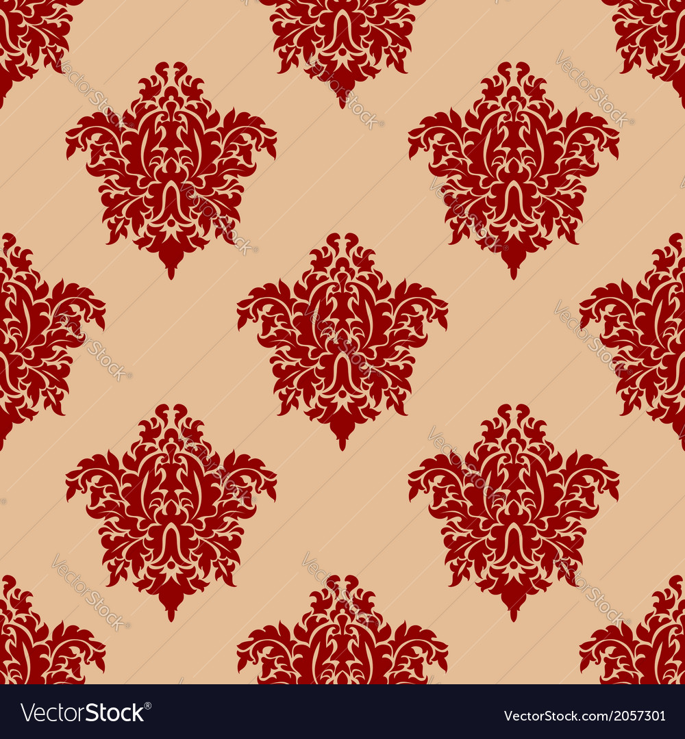Ornate maroon damask style seamless pattern vector | Price: 1 Credit (USD $1)