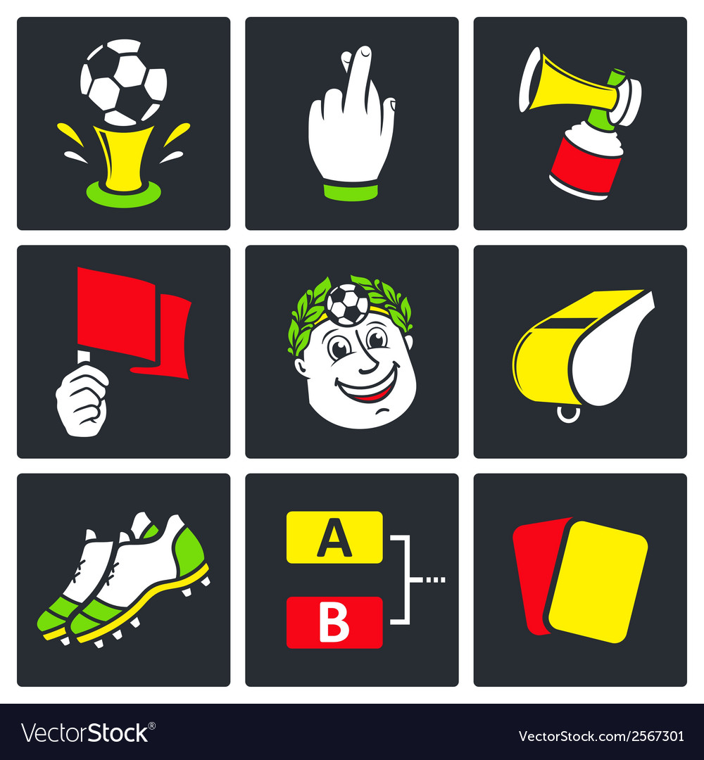 Soccer icons set vector | Price: 1 Credit (USD $1)