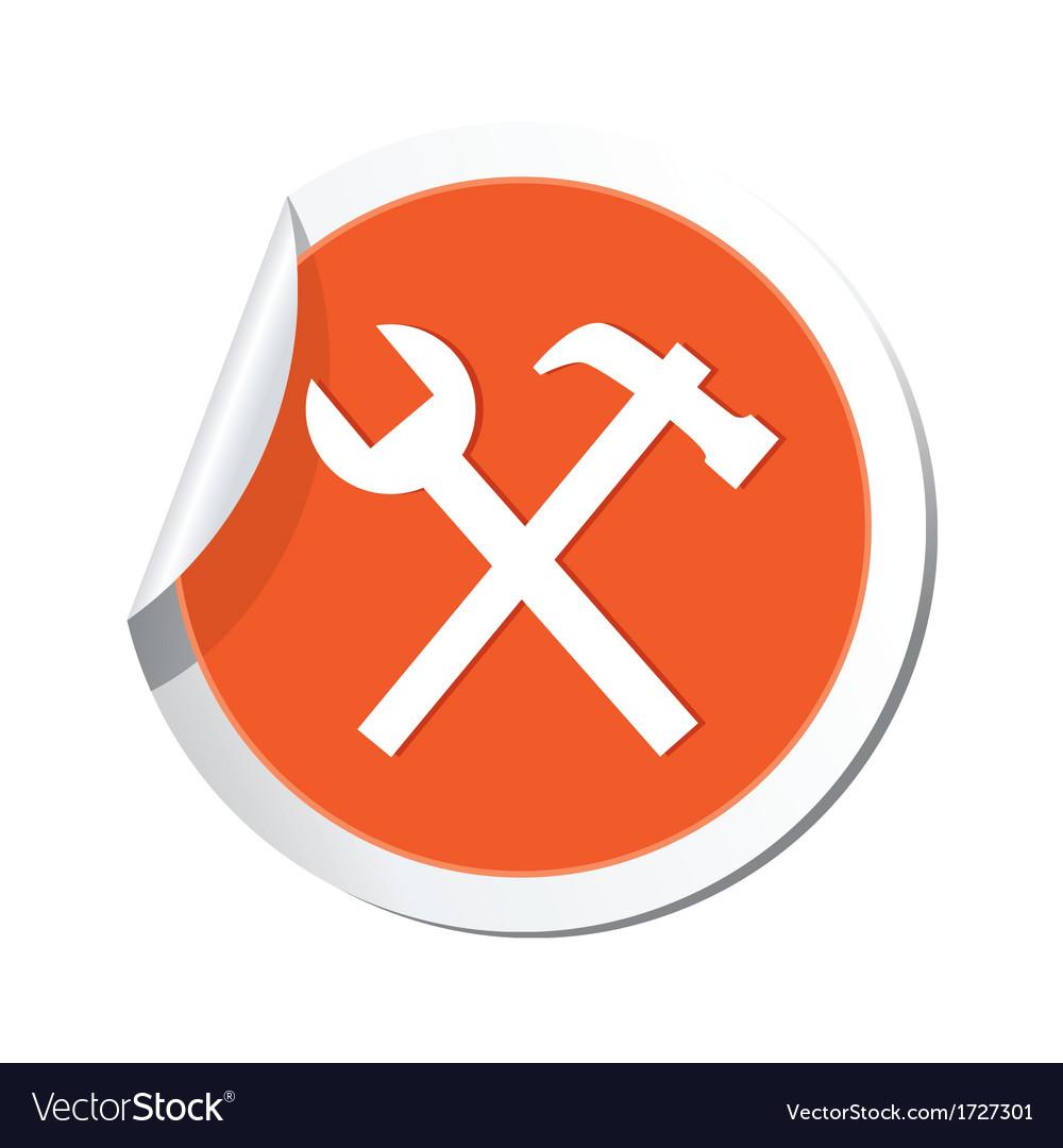 Tools icon orange sticker vector | Price: 1 Credit (USD $1)