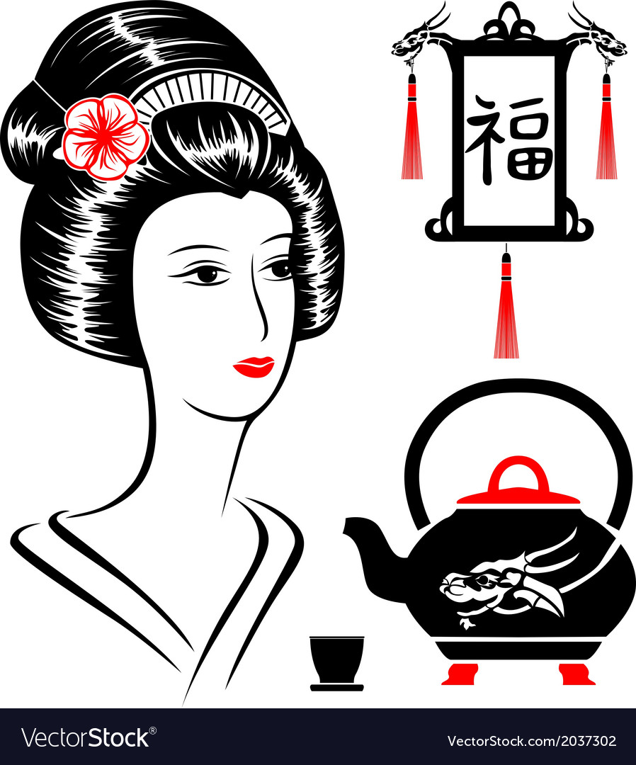 Asian set vector | Price: 1 Credit (USD $1)