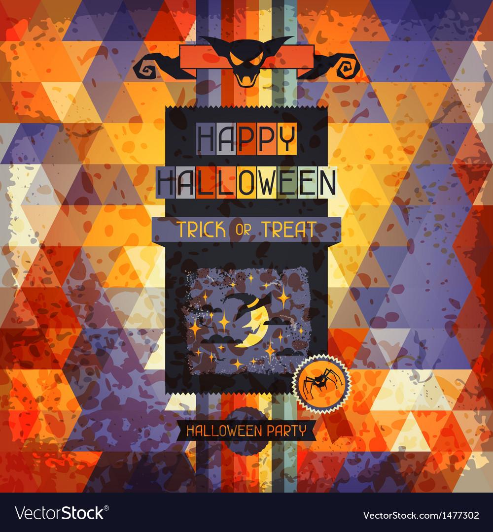 Happy halloween grungy retro background vector | Price: 1 Credit (USD $1)