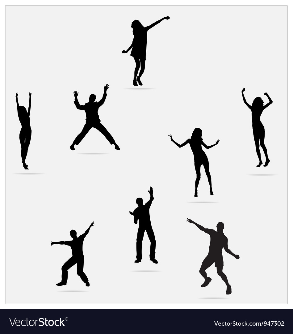 Healthy young active dance jumping people vector | Price: 1 Credit (USD $1)