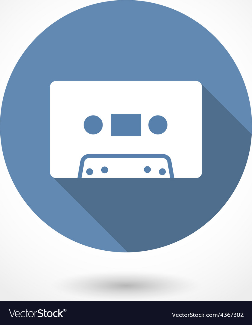 Hipster audio or cassette icon with long shadow vector | Price: 1 Credit (USD $1)