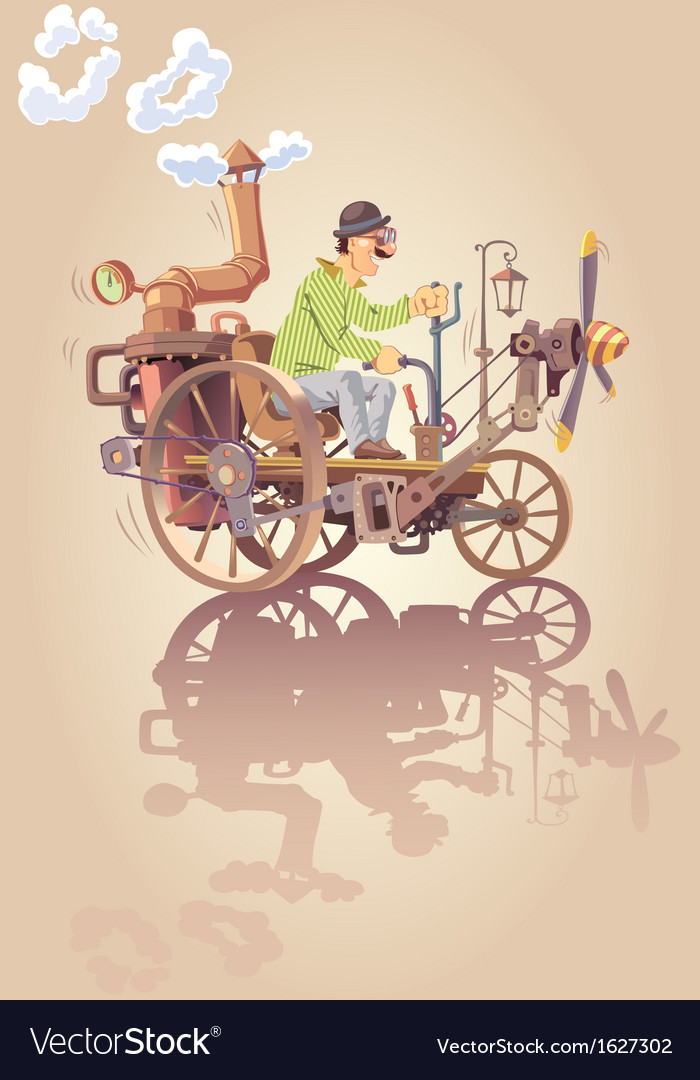 Inventor and his steam car vector | Price: 3 Credit (USD $3)