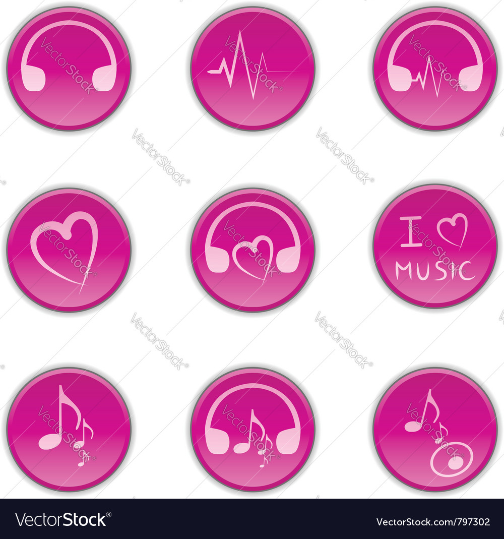 Music theme icons vector | Price: 1 Credit (USD $1)
