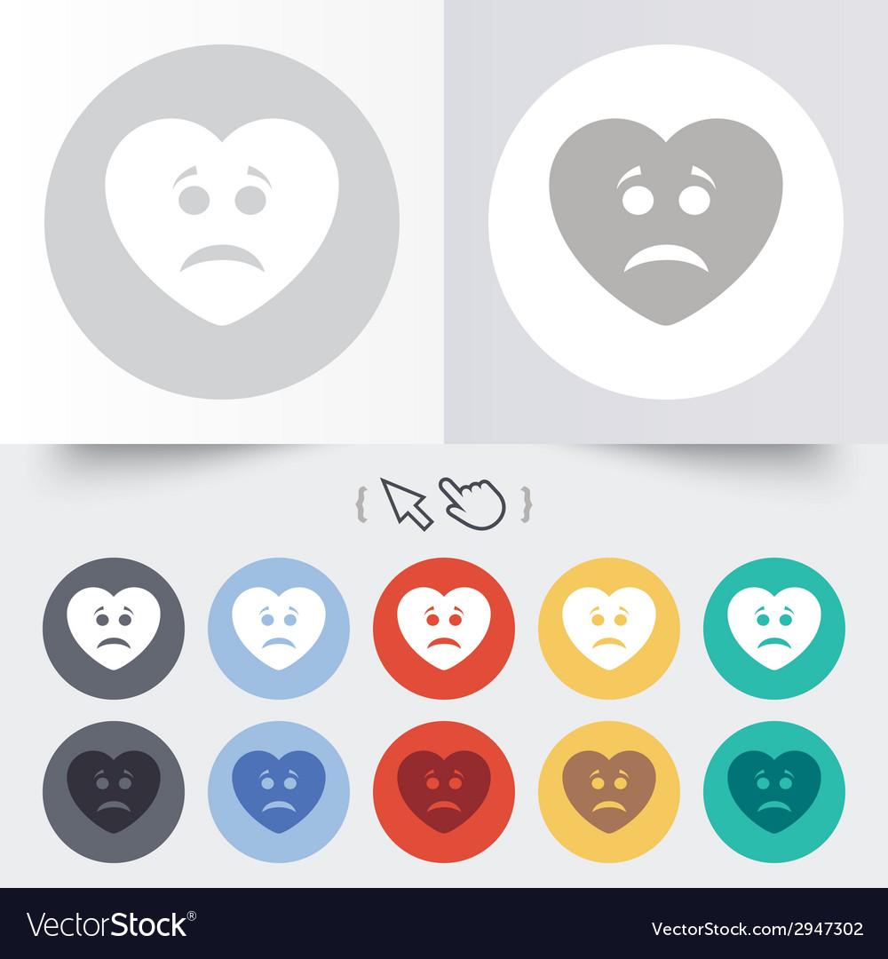 Sad heart face sign icon sadness symbol vector | Price: 1 Credit (USD $1)
