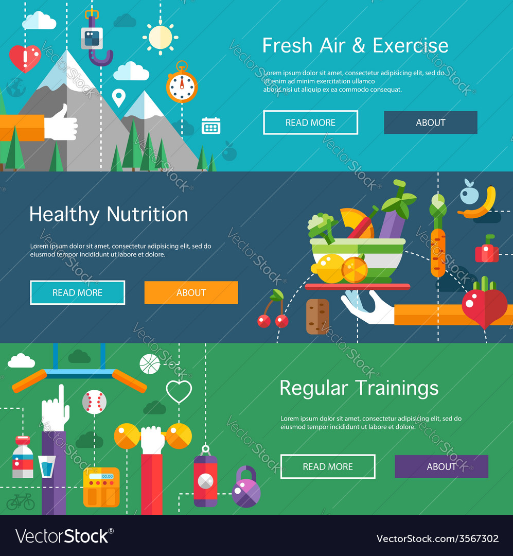 Set of flat design sport fitness and healthy vector | Price: 1 Credit (USD $1)