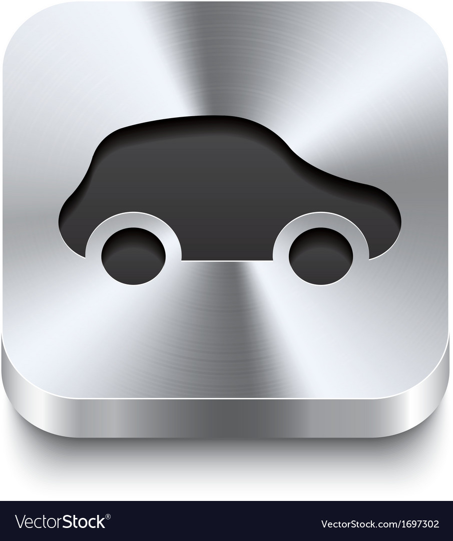 Square metal button perspektive - car icon vector | Price: 1 Credit (USD $1)