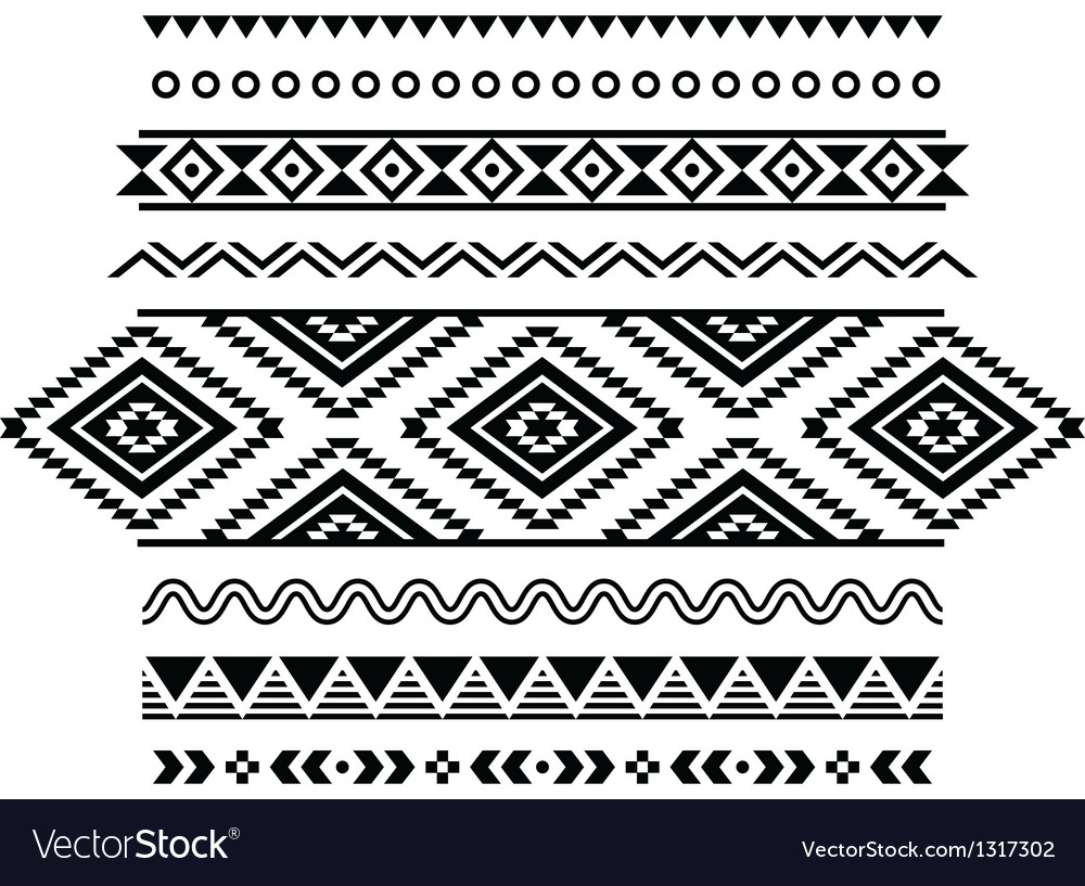 Tribal seamless pattern aztec black and white vector | Price: 1 Credit (USD $1)