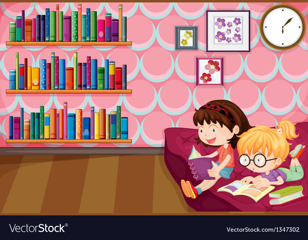 Two girls reading inside the house vector | Price: 1 Credit (USD $1)