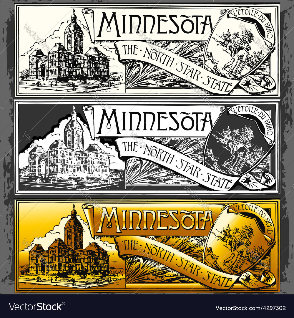 Vintage minnesota label plaque withe black and vector | Price: 3 Credit (USD $3)
