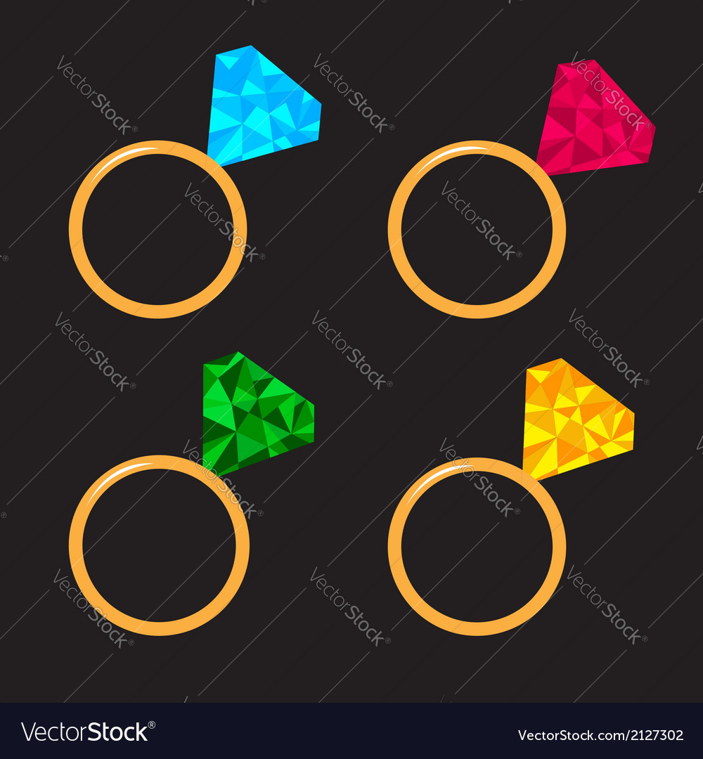Wedding gold ring set with diamond polygonal vector | Price: 1 Credit (USD $1)