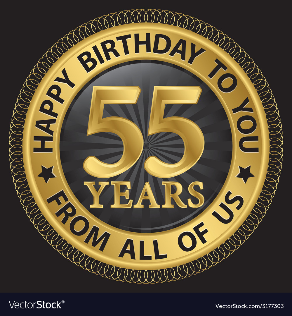 55 years happy birthday to you from all of us gold vector | Price: 1 Credit (USD $1)