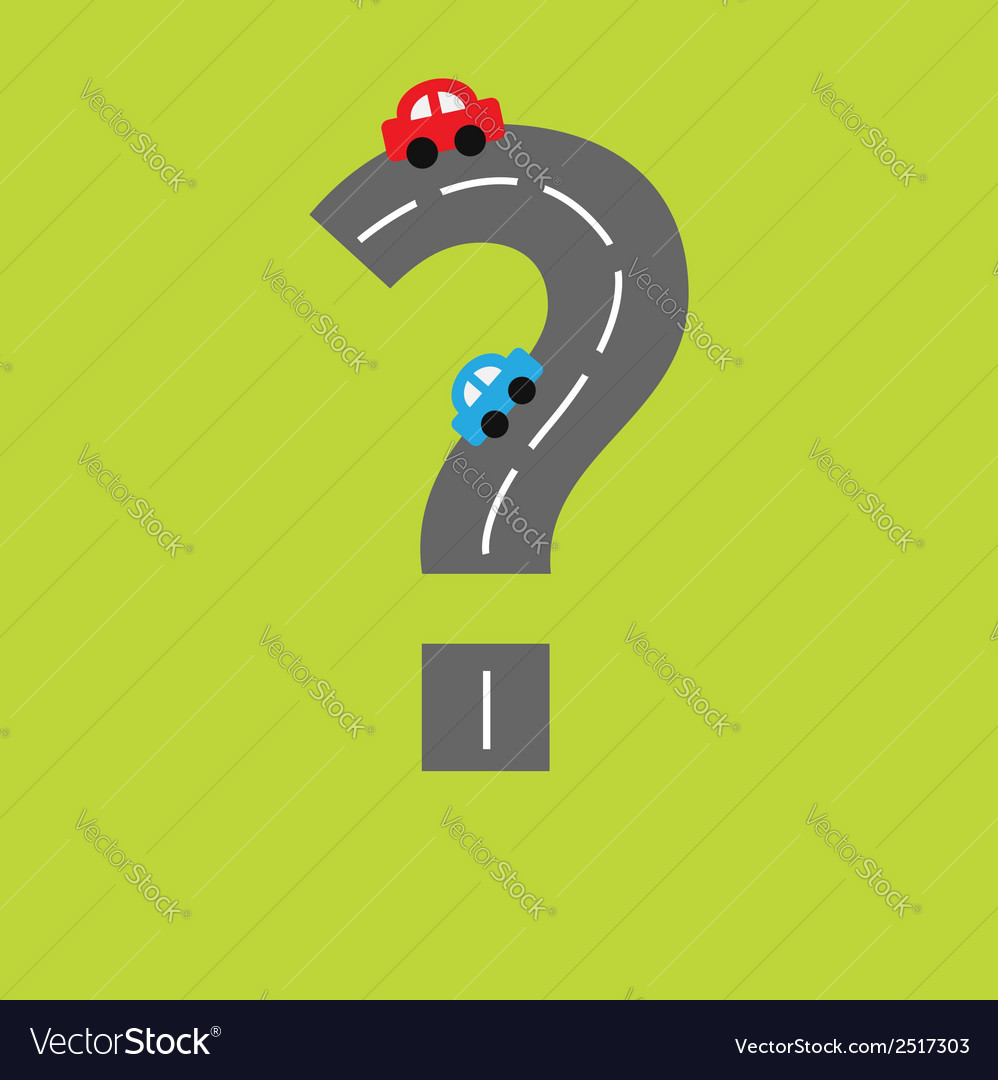 Background with road in shape of question mark vector | Price: 1 Credit (USD $1)