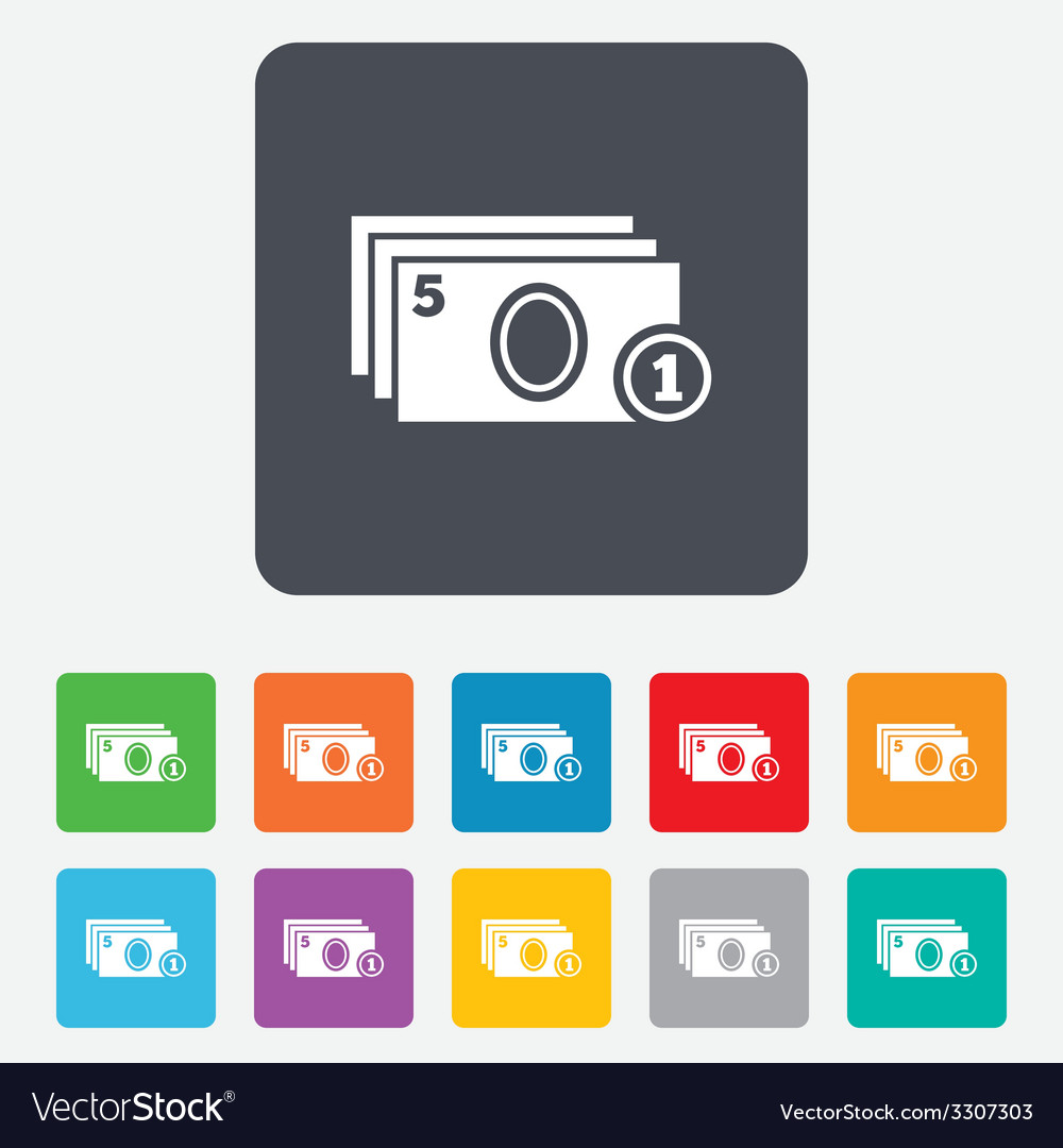 Cash and coin sign icon paper money symbol vector | Price: 1 Credit (USD $1)