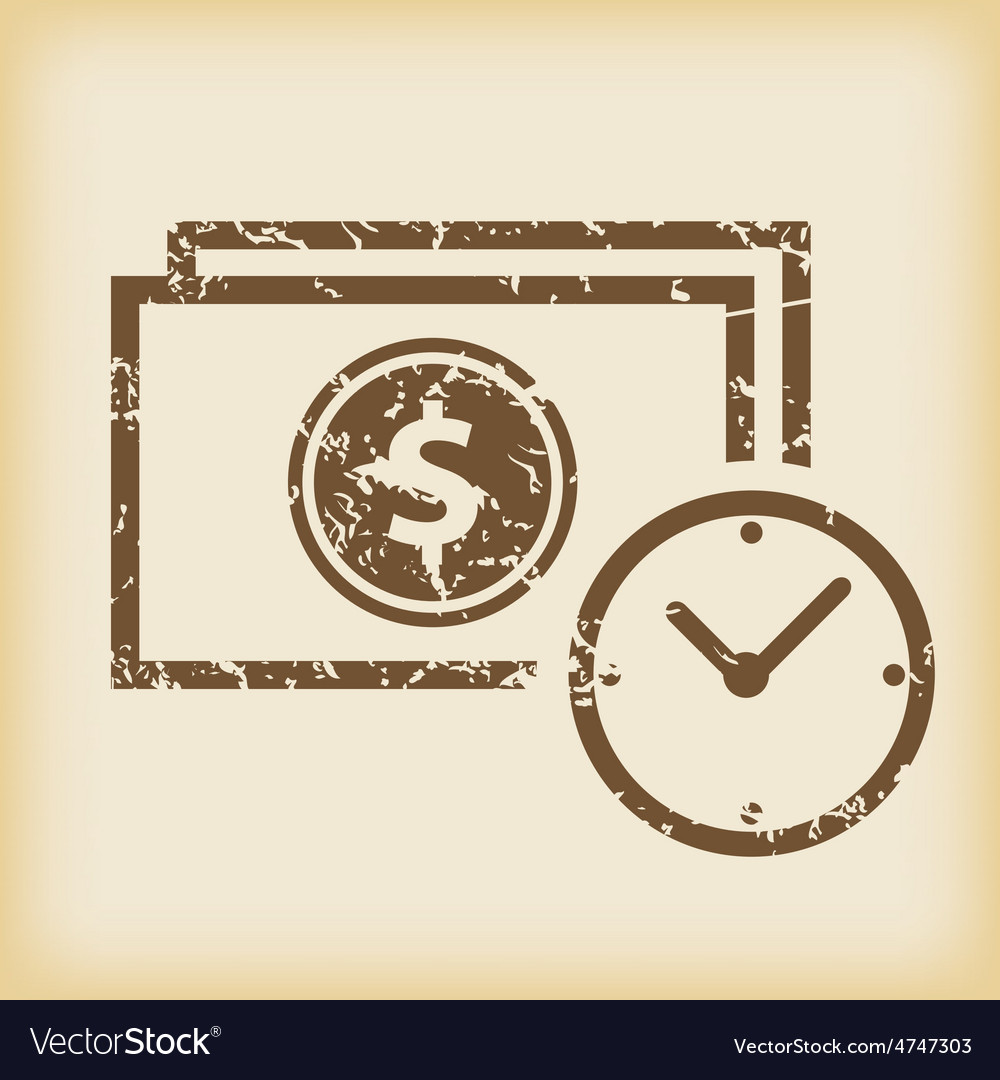 Grungy financial time icon vector   Price: 1 Credit (USD $1)