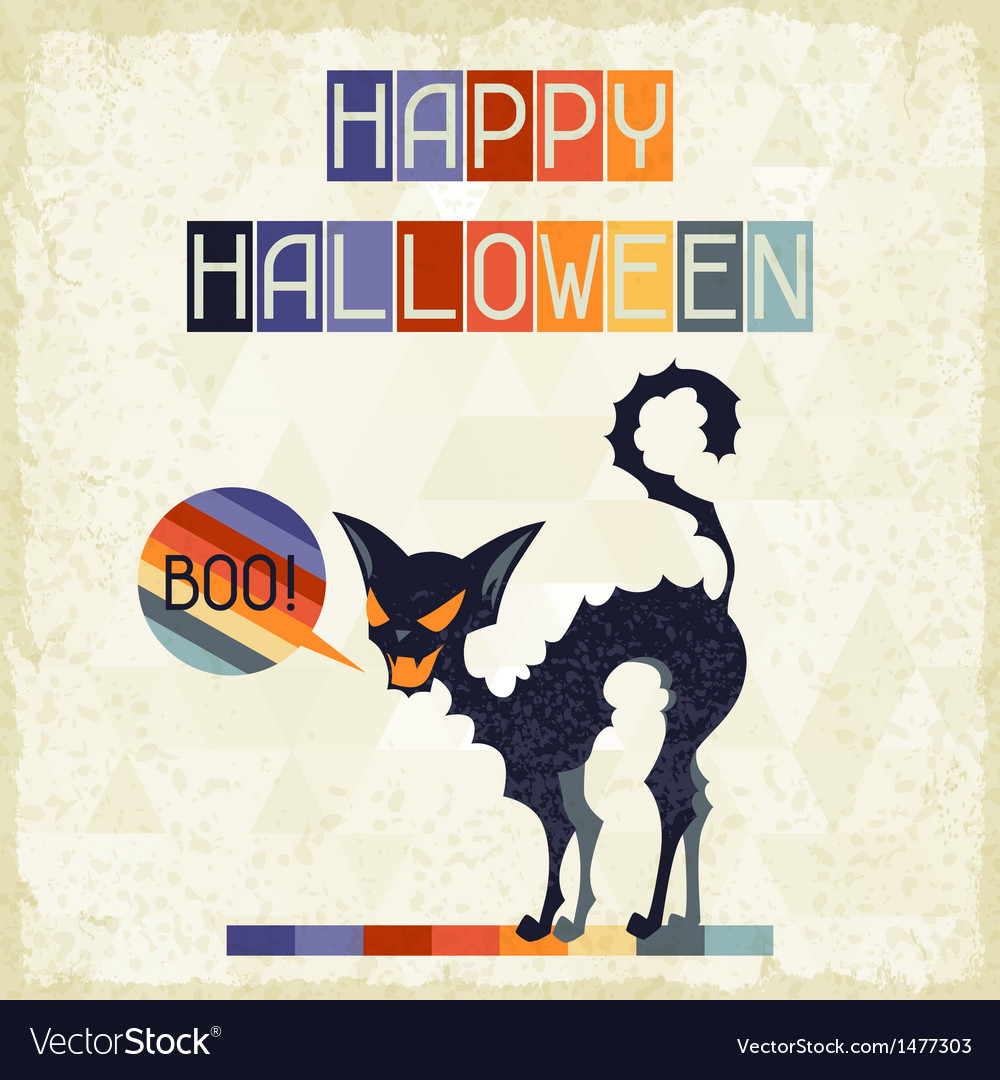Happy halloween grungy retro background vector | Price: 1 Credit (USD $1)