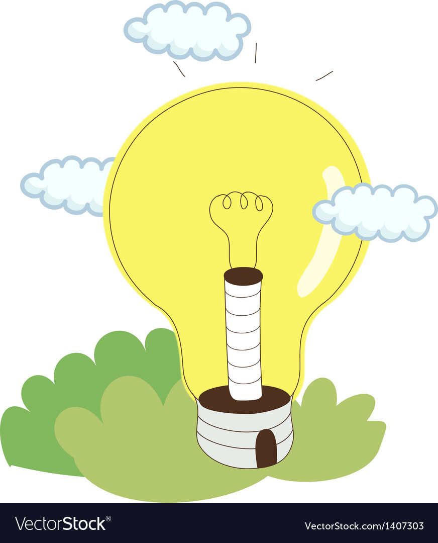 Light bulb with cloud vector | Price: 1 Credit (USD $1)