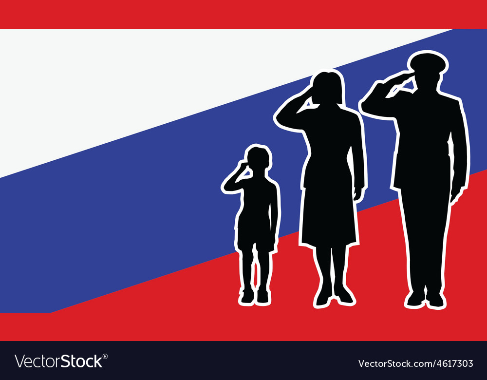 Russia soldier family salute vector | Price: 1 Credit (USD $1)