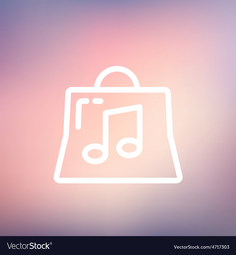 Shopping bag with musical note thin line icon vector   Price: 1 Credit (USD $1)