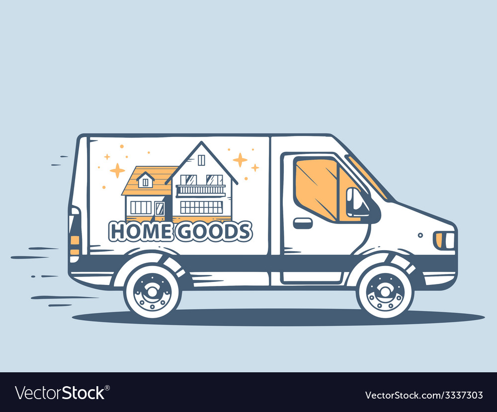 Van free and fast delivering home goods t vector | Price: 1 Credit (USD $1)