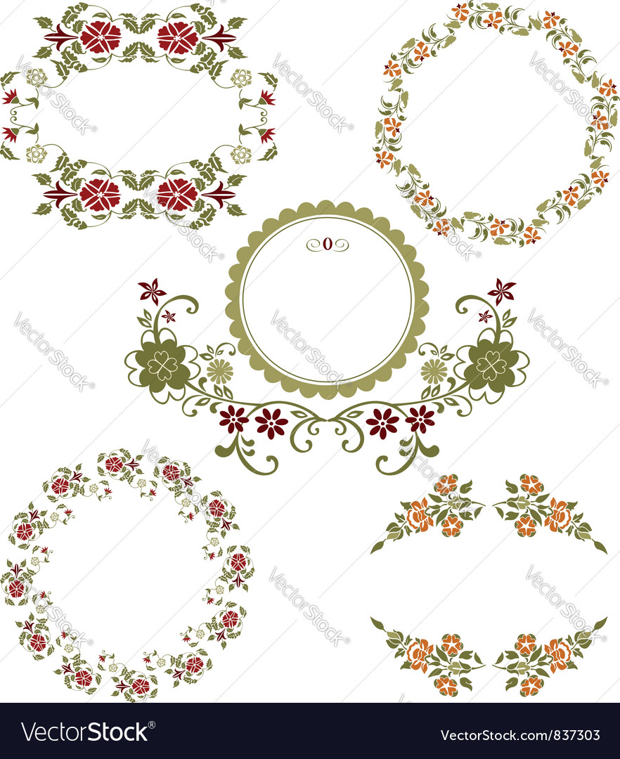 Vintage floral graphic collection vector | Price: 1 Credit (USD $1)
