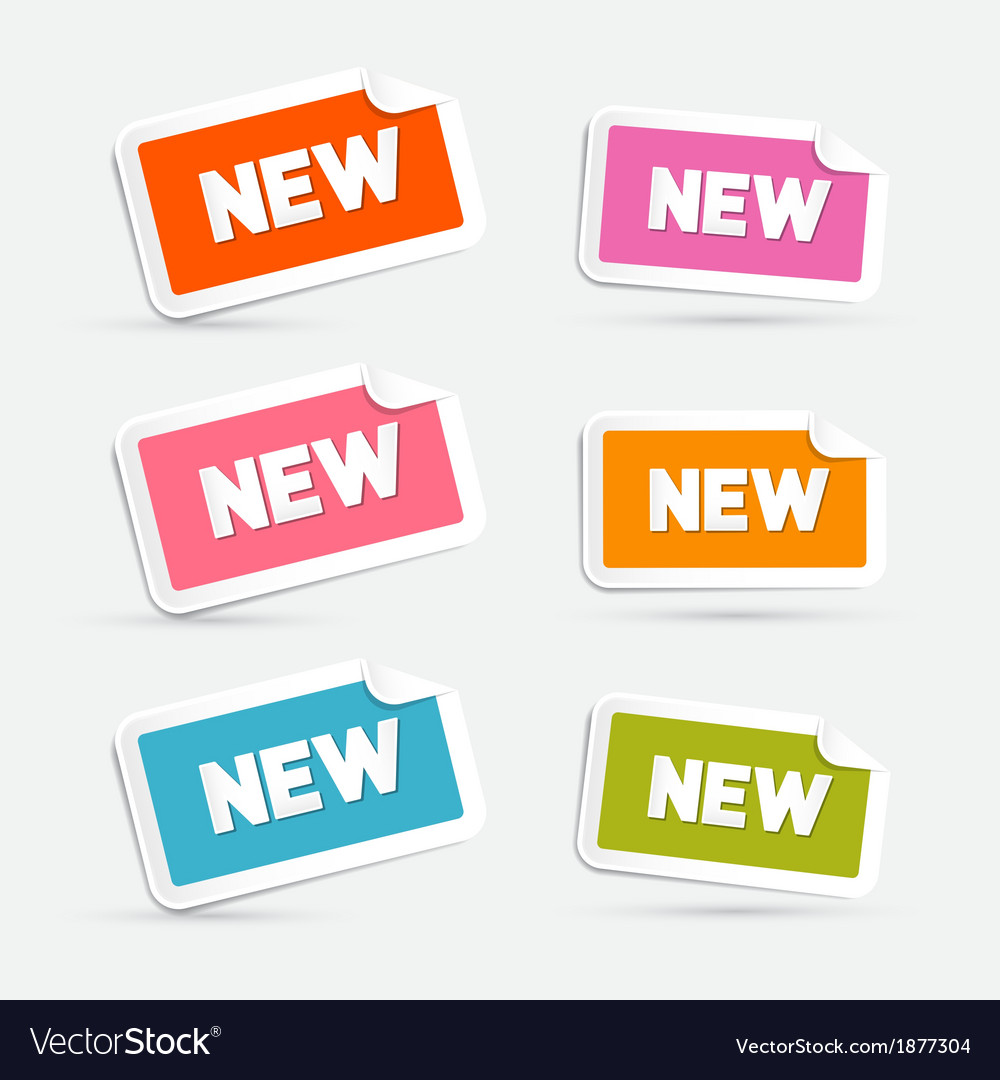 Colorful stickers with new title isolated on grey vector | Price: 1 Credit (USD $1)