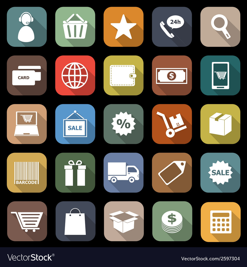 E commerce flat icons with long shadow vector | Price: 1 Credit (USD $1)