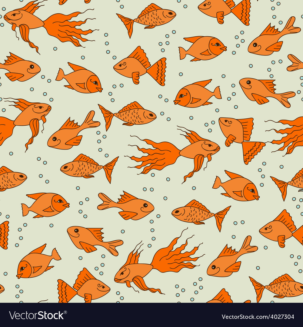 Gold fish in water seamless pattern vector | Price: 1 Credit (USD $1)