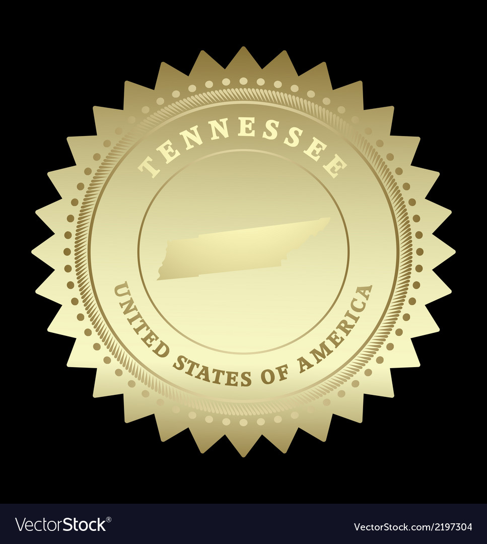 Gold star label tennessee vector | Price: 1 Credit (USD $1)